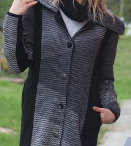 Cappotto jacquard in lana con lamè