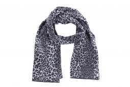 sciarpa leopardo nero-grigio