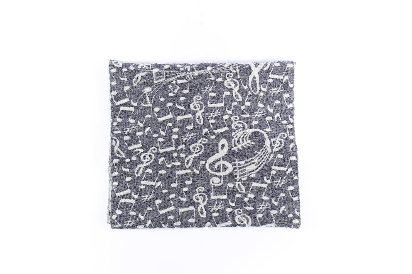 sciarpa note musicali grigio-ecru