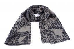 sciarpa patchwork nero-grigio